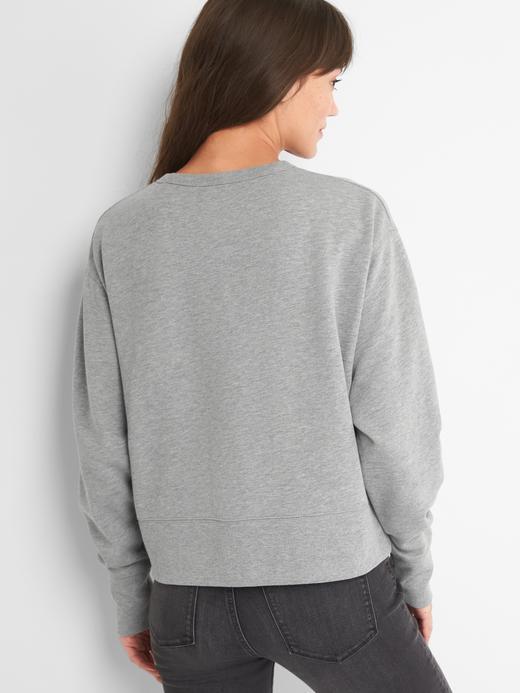 lacivert Logolu sıfır yaka sweatshirt