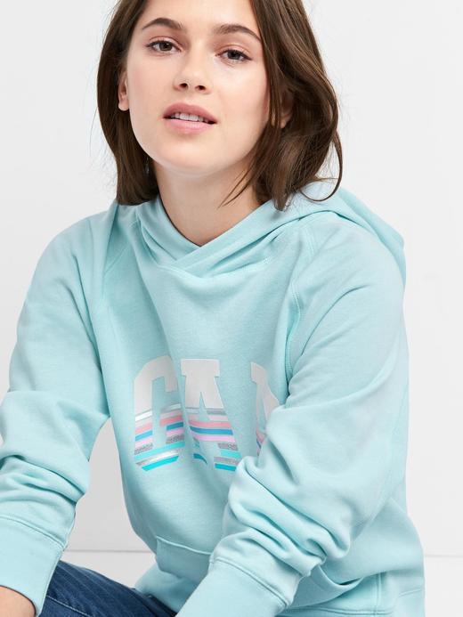 gri Çizgili logolu kapüşonlu sweatshirt