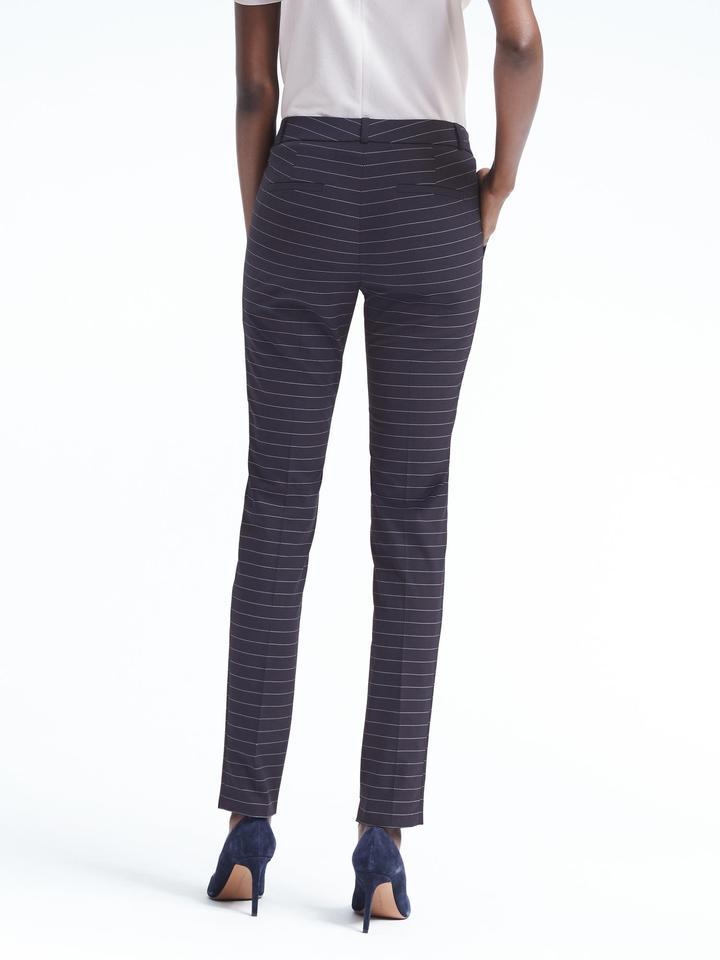 Kadın lacivert Ryan-Fit çizgili pantolon
