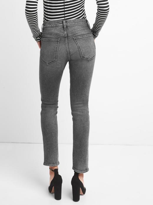 Yüksek belli slim straight fit jean pantolon