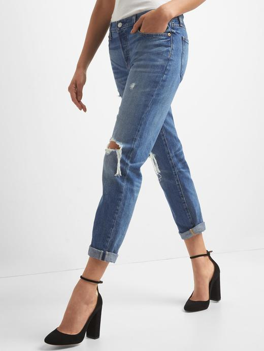 Kadın orta indigo Orta belli boyfriend jean pantolon