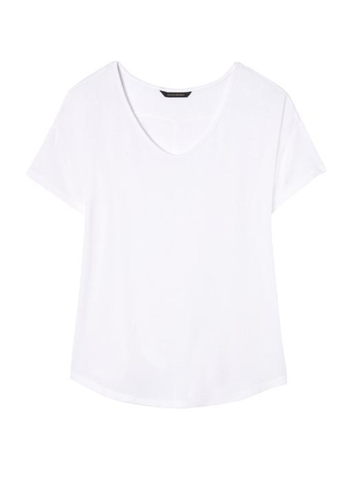 beyaz Kısa Kollu Jarse T-Shirt