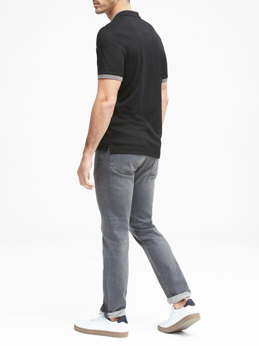 Erkek siyah Luxury Touch Polo T-Shirt