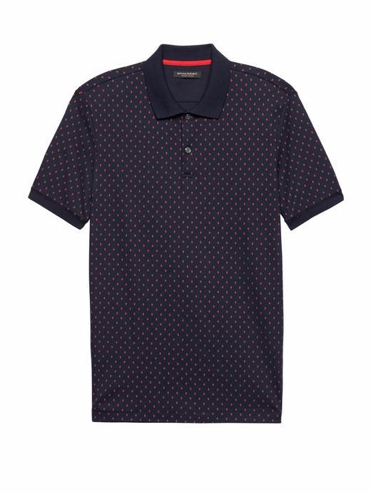 Erkek lacivert Luxury-Touch Desenli Polo T-Shirt