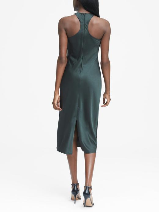 koyu yeşil Kolsuz Saten Elbise