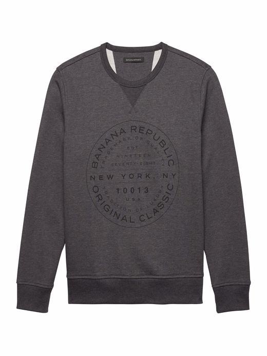 kırçıllı koyu gri Sıfır Yaka Desenli Fransız Havlu Kumaşı Sweatshirt
