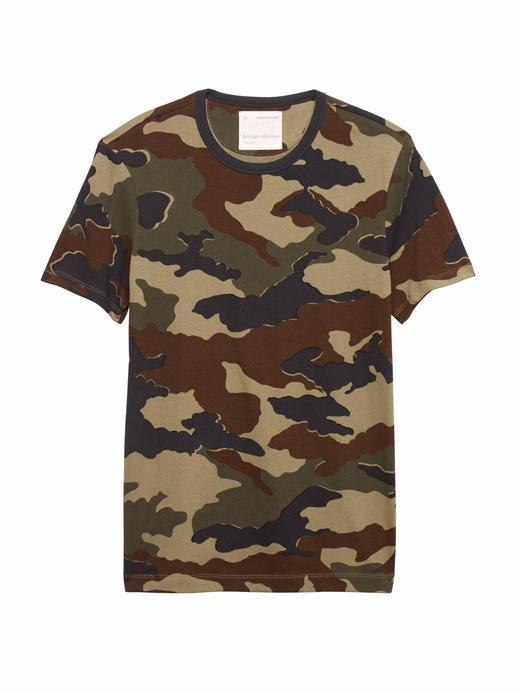 Heritage Kamuflaj Desenli Sıfır Yaka T-Shirt