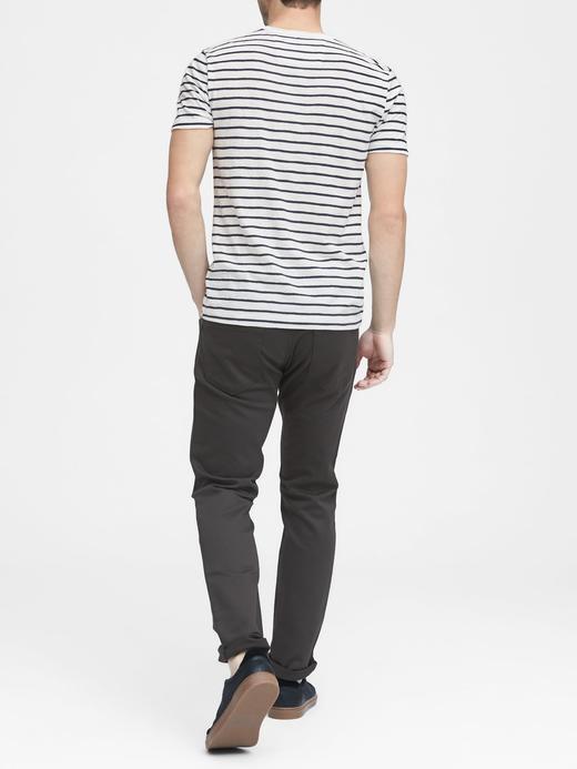 Erkek Beyaz Vintage Saf Pamuklu Çizgili T-Shirt