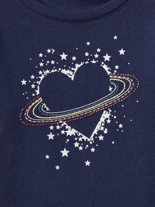 İşlemeli ve grafik desenli fırfır detaylı sweatshirt