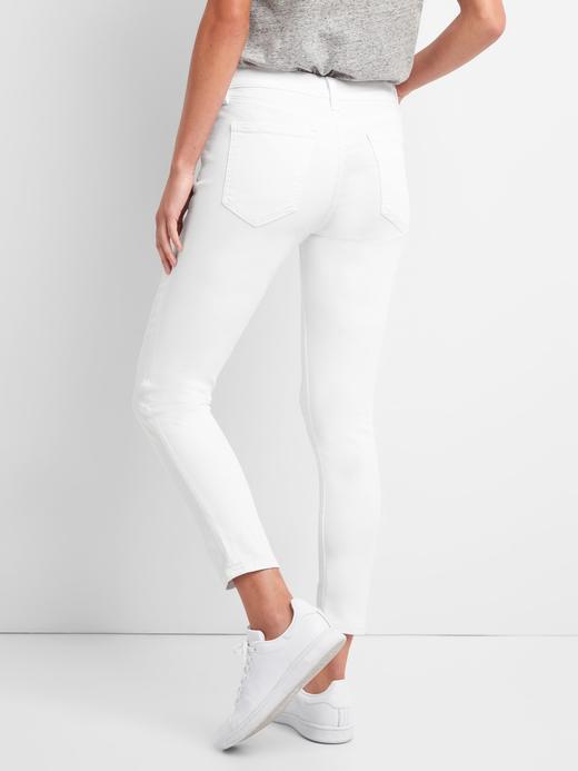 Kadın beyaz Orta belli true skinny jean pantolon