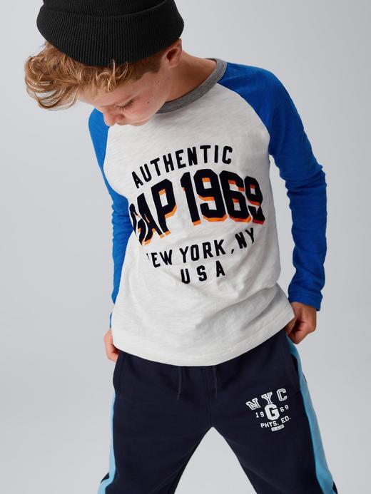 mavi Logolu uzun kollu t-shirt