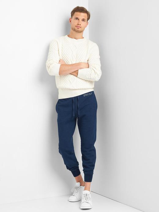 Koyu indigo Fransız havlu kumaşı logolu eşofman altı