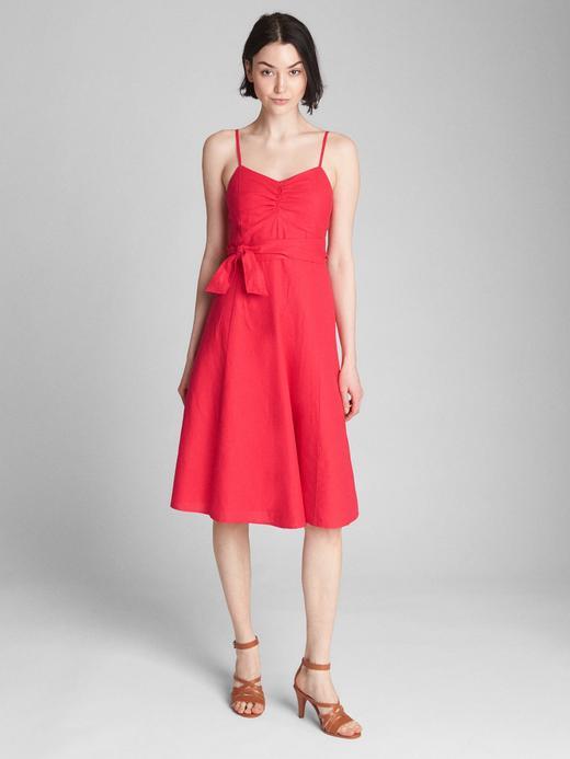 kırmızı Keten Pamuk Karışımlı Askılı Elbise