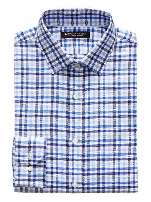 Erkek mavi Grant Slim-Fit SUPIMA® Pamuk Ekose Gömlek