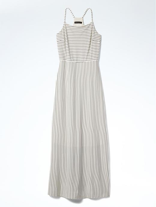 siyah beyaz Çizgili maxi elbise