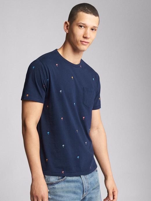 lacivert Kısa kollu desenli sıfır yaka t-shirt