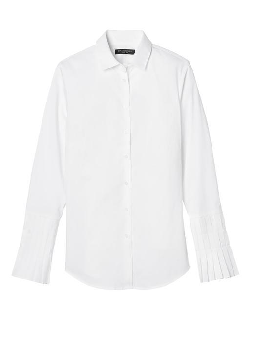 beyaz Riley-Fit Pileli Kol Gömlek