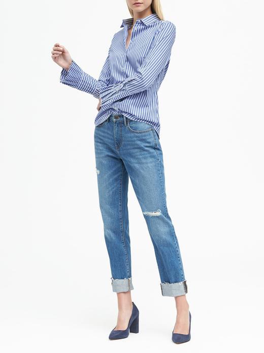 Riley-Fit Çizgili Pili Kollu Gömlek