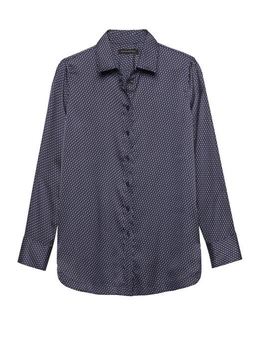 lacivert Parker-Fit Tunik Gömlek