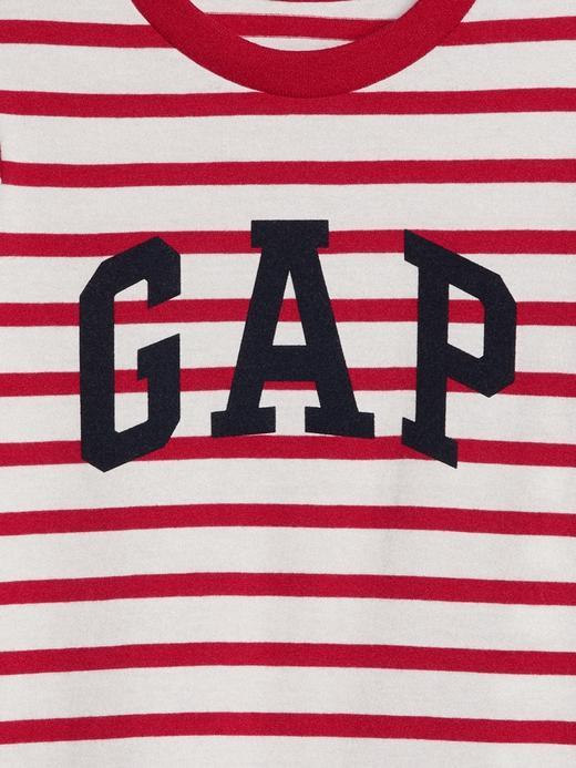 Logolu çizgili t-shirt