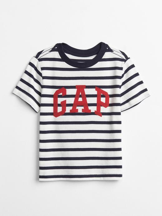 lacivert Logolu çizgili t-shirt
