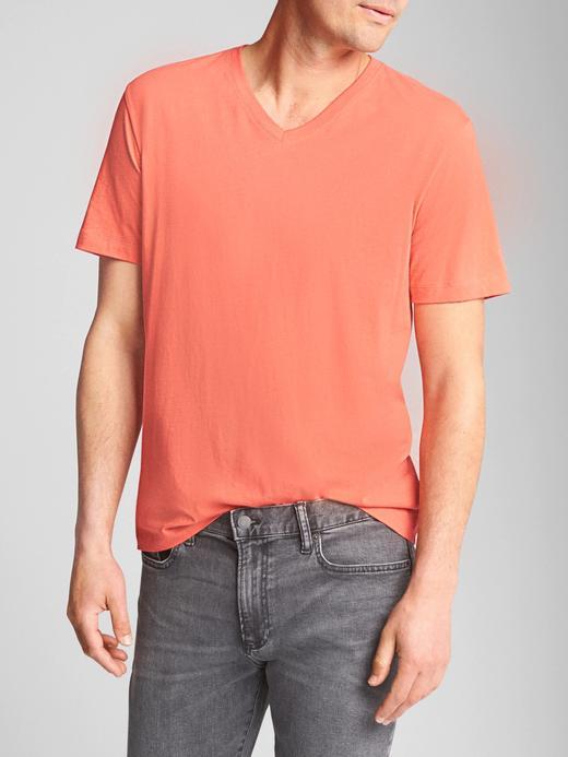 Erkek Turuncu V Yaka Jarse T-Shirt