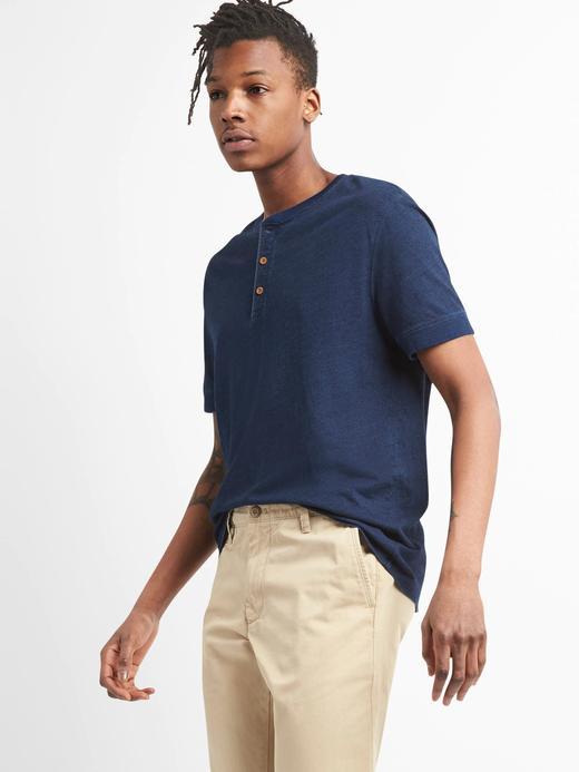 Koyu indigo Kısa kollu yakası düğmeli t-shirt