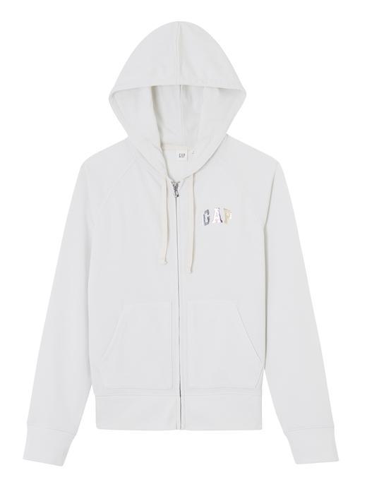 Kadın kirli beyaz Logolu fermuarlı sweatshirt