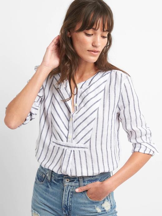 Kadın lacivert/beyaz çizgili Çizgili keten gömlek