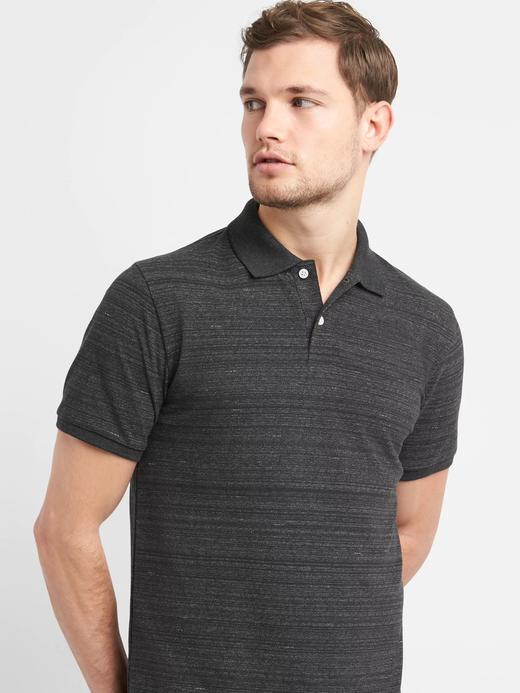 koyu gri Kısa kollu streç pique polo t-shirt