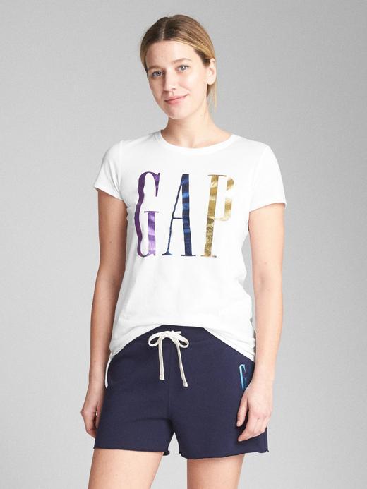 Kadın Beyaz Metalik logolu kısa kollu sıfır yaka t-shirt