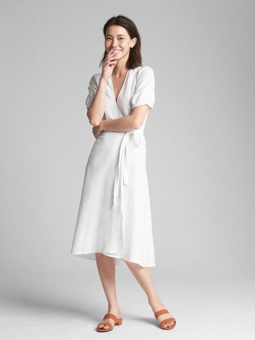 783598d234f45 Outlet Beyaz Keten ve pamuk karışımlı midi elbise 309365969 | GAP