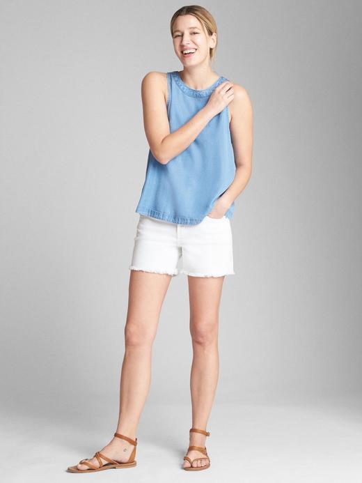 Kadın açık renk yıkama Kolsuz Tencel™ Bluz
