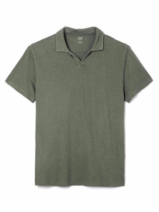 haki Kısa kollu pamuk keten karışımlı polo t-shirt