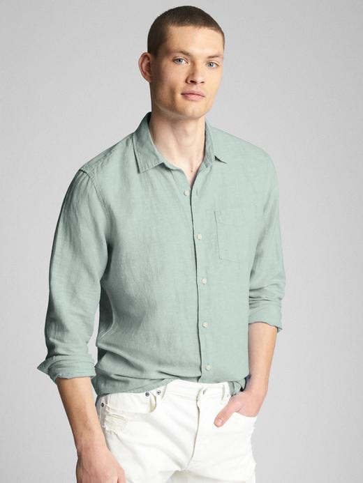 sage Standart fit keten pamuk karışımlı gömlek