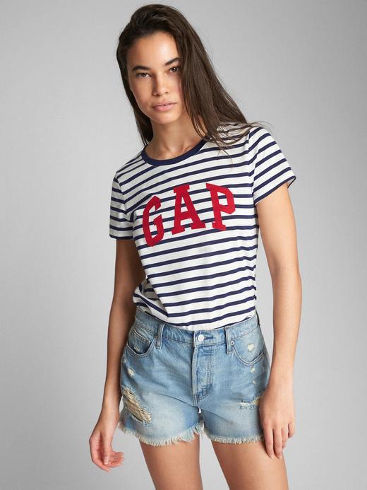 Kadın lacivert çizgili Logolu desenli sıfır yaka t-shirt