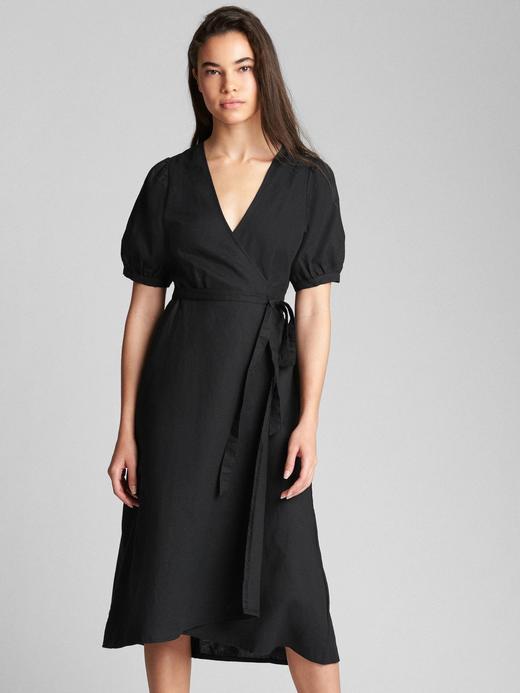 Siyah Keten ve pamuk karışımlı midi elbise