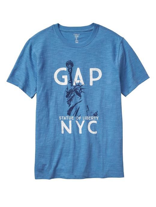 Erkek saks mavisi Baskılı kısa kollu t-shirt