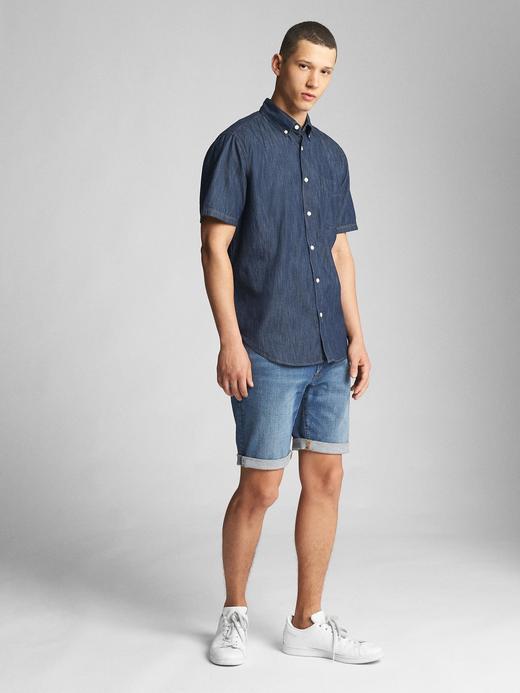 Standard fit kısa kollu denim gömlek