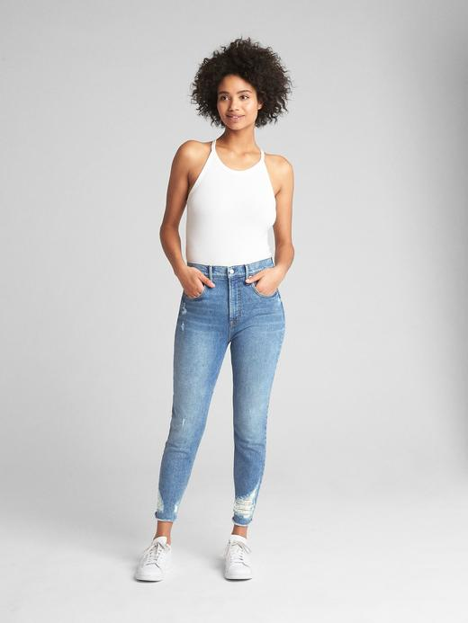Yüksek belli true skinny kısa jean pantolon