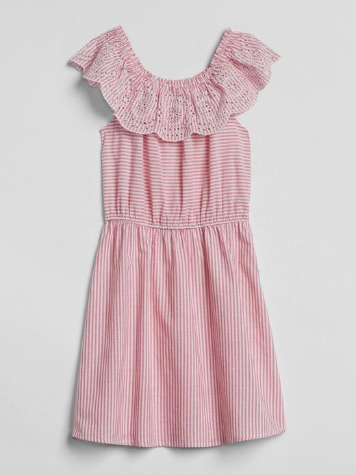 Çizgili fırfırlı elbise