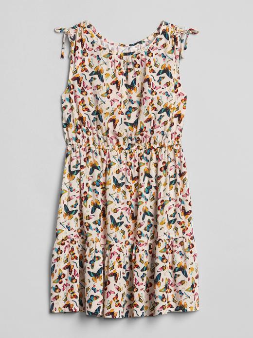 Kelebek desenli kolsuz elbise