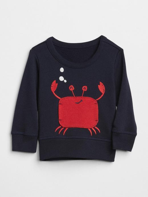 Baskılı sıfır yaka sweatshirt