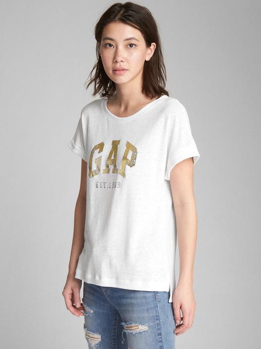 beyaz Metalik logolu kısa kollu t-shirt