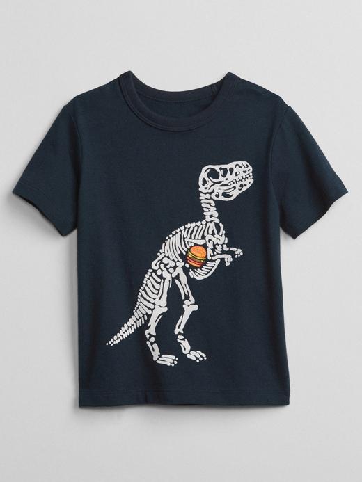 Bebek lacivert Kısa kollu baskılı t-shirt