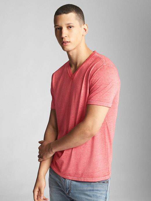 açık kırmızı Kısa Kollu V Yaka T-Shirt
