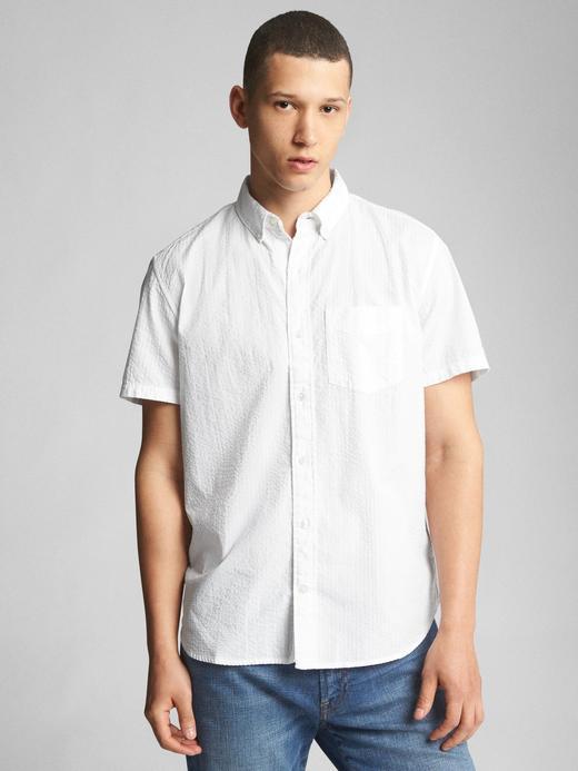 Erkek beyaz Kısa kollu desenli gömlek