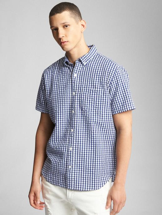 Erkek mavi Kısa kollu desenli gömlek