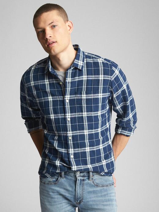 orta indigo Standart fit keten pamuk karışımlı gömlek