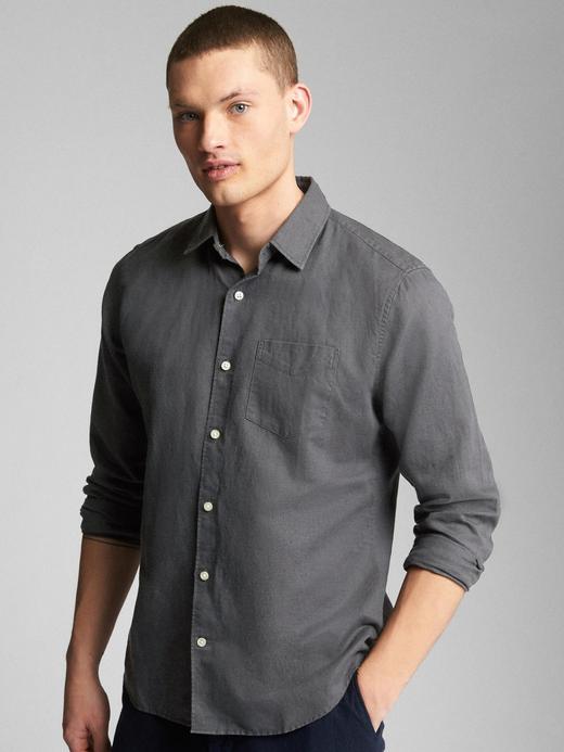 Standart fit keten pamuk karışımlı gömlek